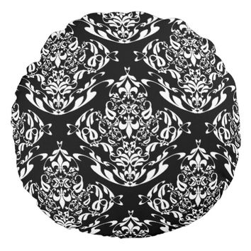Classy Black And White Floral Damask Pattern Round Pillow