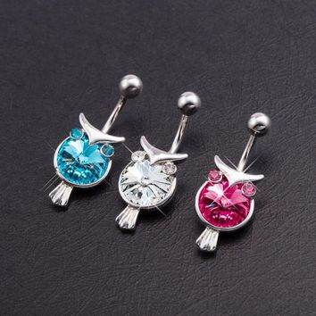 Promotion Hot Sale Ear Plugs Fake Piercing Fashion Cute Owl Belly Button Rings Sexy Body Jewelry For Women Navel Piercing