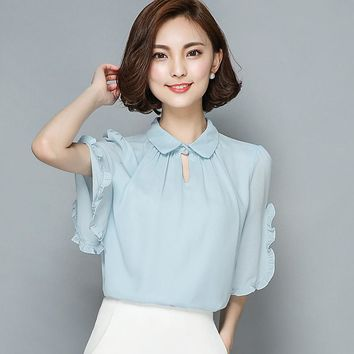 2016 Summer half sleeve peter pan collar Plus size women chiffon shirt ruffles sleeve white chiffon blouses women body tops lady