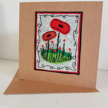 Free motion machine embroidery-poppy -shabby chic-greetings card-great for all ages-birthday card- applique textiles collage lest we forget
