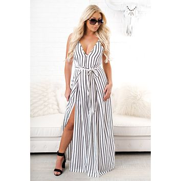 Mad Love Striped Jumpsuit (Off White)