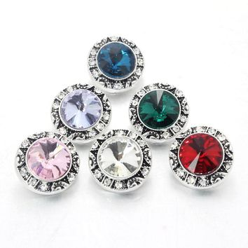 10pcs/Lot Mix 18mm Snap Button Jewelry Charm Rhinestone Ginger Button For Snap Fit DIY Snap Bracelets&Bangles Accessory 021604