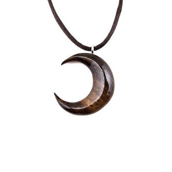 Moon Necklace, Crescent Moon Pendant, Half Moon Pendant Necklace, Wooden Crescent Moon Pendant, Carved Moon Pendant, Crescent Moon Jewelry