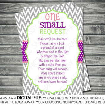 Girls Baby Shower Bring a Book Insert Card - Chevron, Gray, Green, Purple, Pink, Printable, Digital