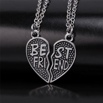 "Vintage 2 Part ""BEST FRIENDS"" BFF Silver Broken Heart Pendant Chain Necklace For Women + Gift Box"