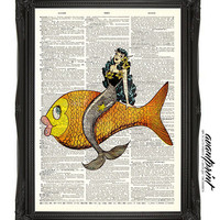 Mermaids Underwater Ride Pin Up Print on an Upcycled Unframed Bookpage