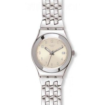 Swatch YLS441G Women's Swiss Made Stainless Steel Pink Dial Watch