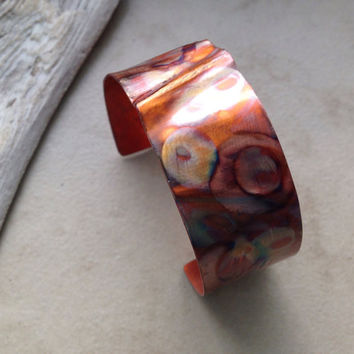 Flamed copper cuff bracelet, hammered textured flamed handforged copper band, patterned rustic fold formed warm colorful patina, handmade