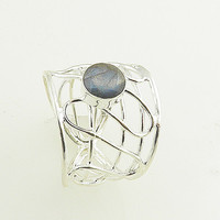 Labradorite Sterling Silver Open Design Ring