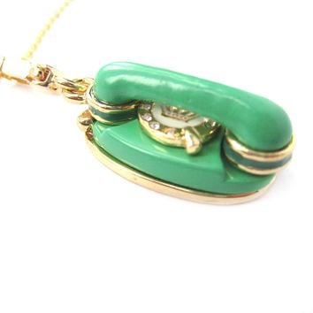 Vintage Rotary Telephone Shaped Pendant Necklace in Green | Limited Edition Jewelry