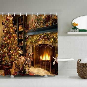 Christmas Chimney Waterproof Polyester Bathroom Shower Curtain