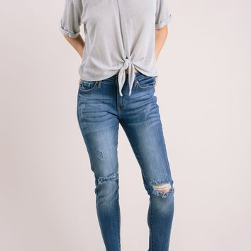 Cleo Distressed Raw Hem Jeans