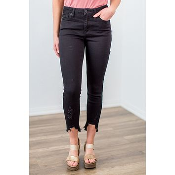 Kan Can Black Raw Hem Jeans