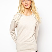 ASOS Jumper With Lace Shoulder Inserts at asos.com
