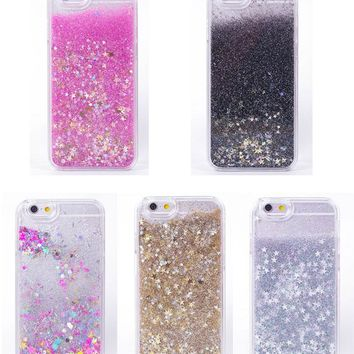 Flowing Liquid Phone Case For iPhone 8 7 6 6S Plus 5 5s SE 4 4S Luxury Rainbow Unicorn Horse Twinkle Glitter Star Plastic Cover