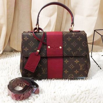 Louis Vuitton Women Fashion Leather Handbag Bag Square Bag Coffee Monogram-red line