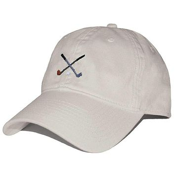 Crossed Golf Clubs Needlepoint Hat in Stone by Smathers & Branson