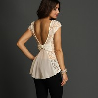 Promo-white Lace Peplum Top