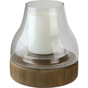 """10.25"""" Transparent Glass Pillar Candle Holder with Wooden Base"""
