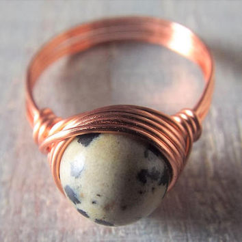 Dalmatian Jasper Ring - Copper Wire Wrapped Ring - Spotted Stone Ring - Unique Rings - Copper Wire Jewelry - Jasper Jewelry - Simple Rings