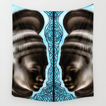 Blue Jade Wall Tapestry by violajohnsonriley