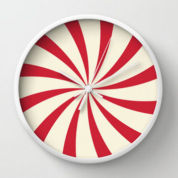 Red Wall Clock Circus Swirl Sunburt Office Decor Dorm Room Nursery Wall Art Gift