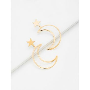 Moon & Star Design Drop Earrings