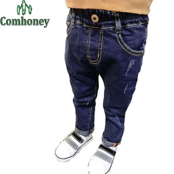Ripped Jeans for Kids Fashion Boys Skinny Jeans Baby Boy Denim Pants Fashion Child Cowboy Trousers Autumn Cool Children Clothing