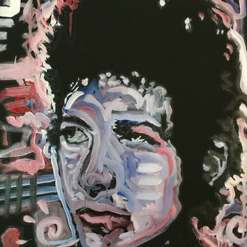 Bob Dylan Pop Art Painting 16x20 Music Art Original Painting Urban Art Boho Chic Decor Red White Blue Art Home Decor by Matt Pecson