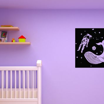 Wall Decal Space Astronaut Kids Room Whale Fish Fantasy Vinyl Sticker (ed1114)