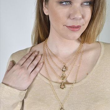 Layered Rolo Chain Necklace with Tear Drop Shaped Pendant