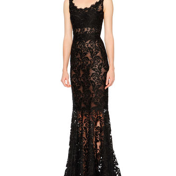 Sleeveless Round-Neck Lace Gown, Black