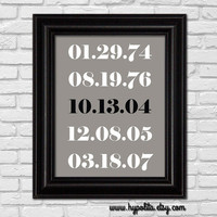 Special Date Print - Subway 8x10 Print - Anniversary Gift - Wedding Gift - Important Dates Print