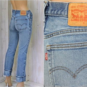 Vintage Levis 517 jeans / 29 X 34 size 5 / 6 / med high waisted / slim fit / straight leg Levis / faded