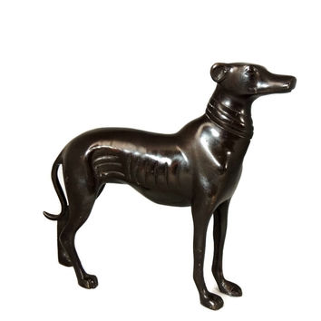 Brass Cast Greyhound Whippet Dog Sculpture Vintage