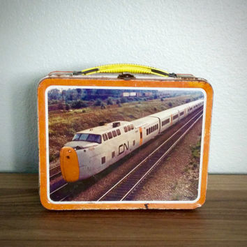 Vintage 1970s Ohio Art metal train lunchbox, CP Rail, CN Train, Canadian Pacific lunch box, metal lunch box, lunch pail