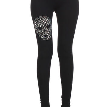 Rhinestone Skull Black Leggings