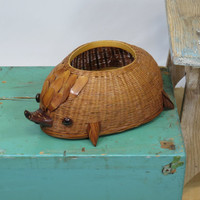 Hedgehog Wicker Basket Planter