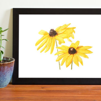 Yellow flower watercolor print  watercolor painting wall decor floral arts home and living girl's room watercolor art watercolor flowers