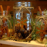 Rustic set of 3 Mason Jars with Snowflakes for your Christmas decor, holiday decor, rustic decor, cabin decor