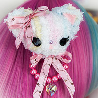 Kawaii Fairy Kei Pastel Goth Sweet Lolita Fuzzy Teddy Bear and Pearls 2 Way Clip