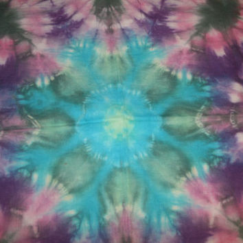"Tie Dye Fabric Ice Dyed Handkerchief Linen 27""x20"""