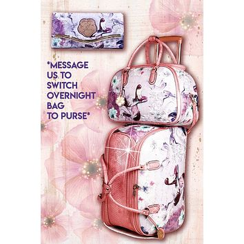 Princess Mera 3PC Set | Rolling Duffel Bag Set + Wallet