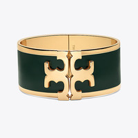 Tory Burch Enameled Raised-logo Wide Bracelet