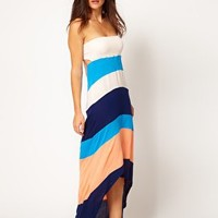 River Island Bandeau Colour Block Maxi Dress With Hi-Lo Hem at asos.com