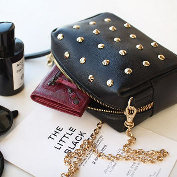 Shop Black Studded Purse on Wanelo