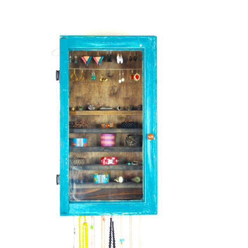 Wall Hanging Rustic Turquoise Jewelry Holder and Organizer... Handmade by TangleandFold