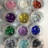 12x Mixcolor 16 Grams Glitter Powder Dust Nail Art Tip Decoration Most Hot Sale High Quality and Fashional