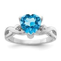 Sterling Silver Light Swiss Blue Topaz Heart & Diamond Ring