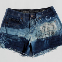 Hand Painted Wilderness Galaxy Jean Shorts